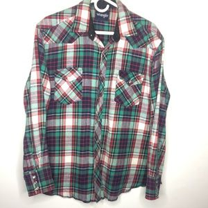 Wrangler XLarge Men's Flannel Red Blue Green